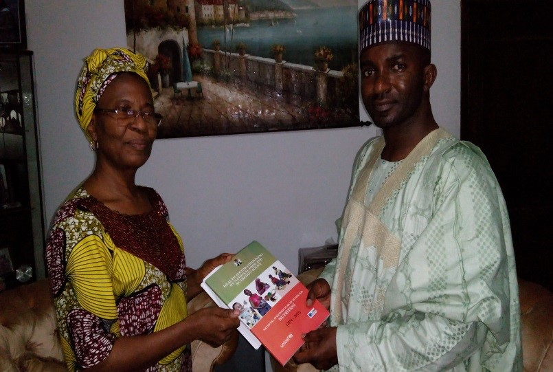Presentation of the NSPAN to Senator A.  Nyako  by CS-SUNN Network Coordinator Dr P Momah.